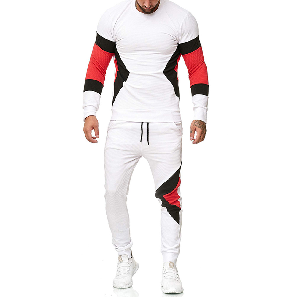 Autumn Contrast Color Sports Suits Slim Top+Drawstring Trouser for Man white_L