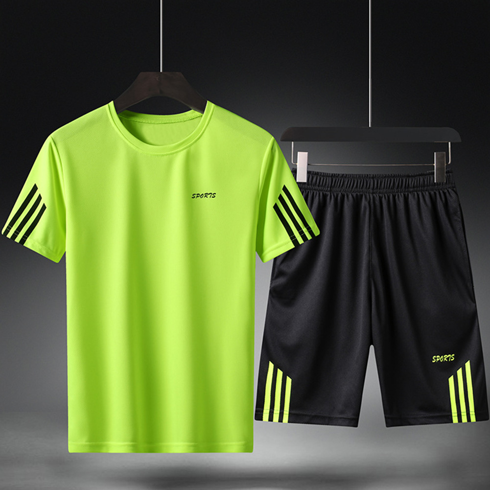 Male Sports Wear Quick Dry Casual Training Suits for Man Basketball Football Jogging green_L