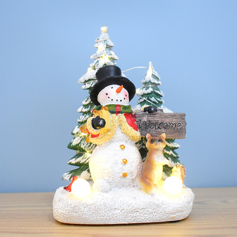 Christmas  Ornaments Battery Led Light Up Luminous Music Santa Claus Snowman Deer Resin Crafts Decoration Glowing Musical Snowman