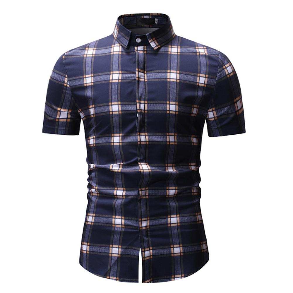 Male Plaid Printed Leisure Shirt of Short Sleeves and Turn-down Top Cardigan Slim Costume Yellow lattice_M