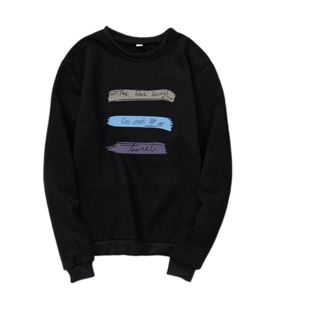 Men Women Long Sleeve Autumn Fleece Loose Coat Sweatshirts for Casual  black_2XL