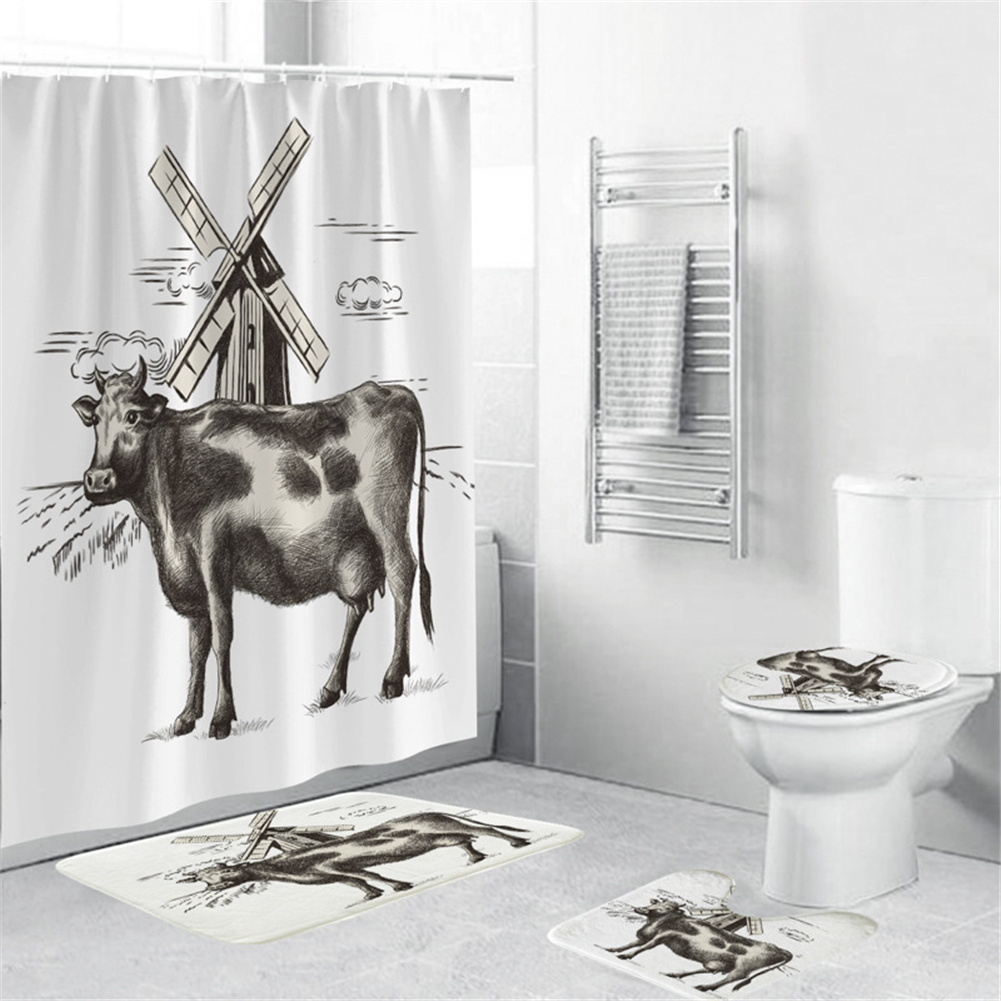 Cow Head Printing Shower  Curtain Waterproof Bathroom Hanging Curtain Decor yul-1840-Cow Windmill_180*180cm