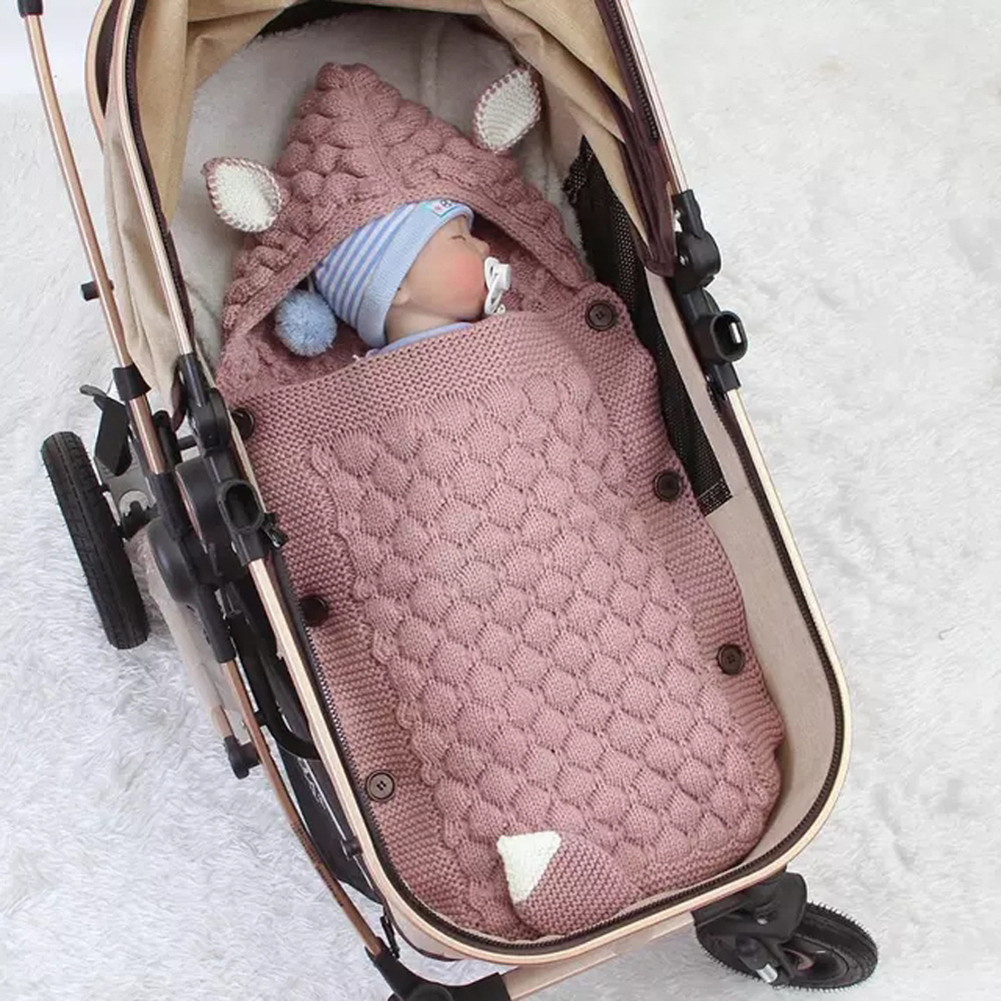 Spring Autumn Knitting Sleeping Bag Photographic Props Swaddling Blanket for Newborn pink