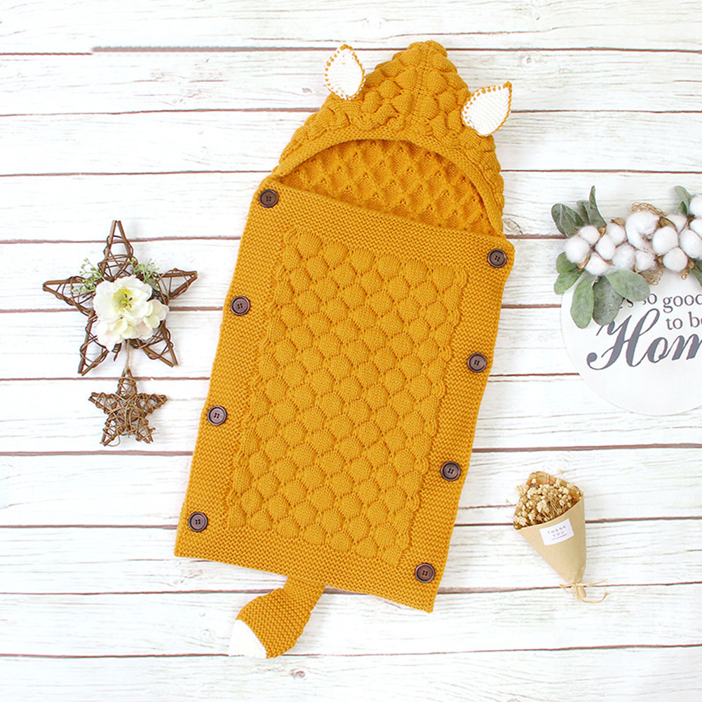 Spring Autumn Knitting Sleeping Bag Photographic Props Swaddling Blanket for Newborn Natural yellow