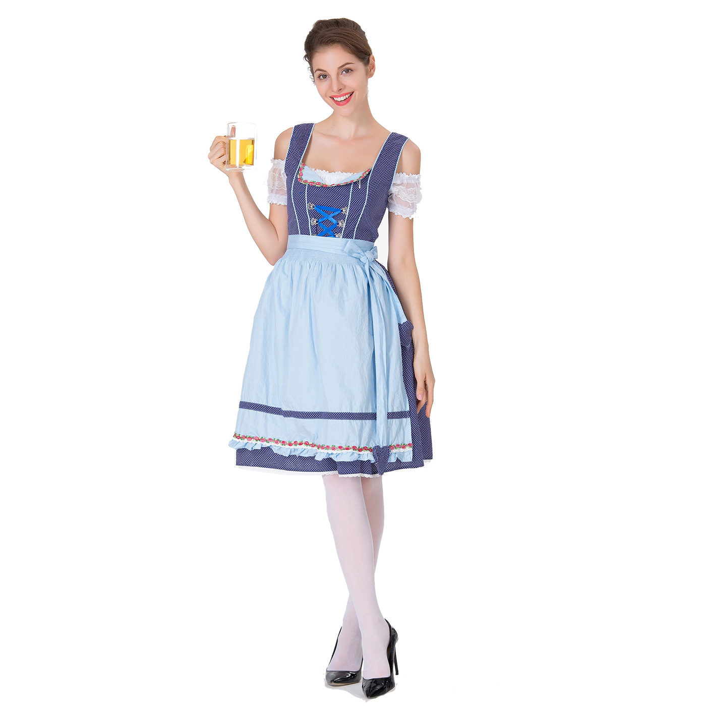 Women Large Size Oktoberfest Style Dirndl Dress Bavarian Style Waitress Halloween Costume blue_S