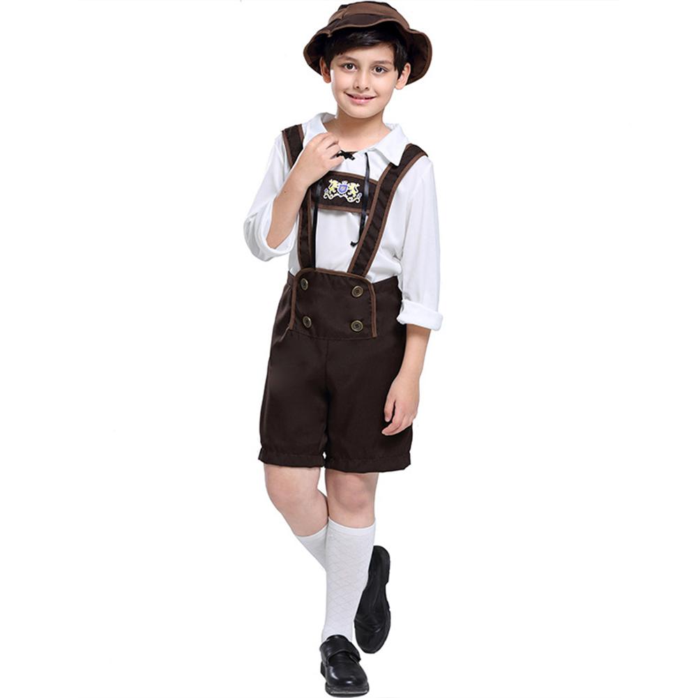 Children Boy Fashion Oktoberfest Waiter Cosplay Costume Beer Festival Suit Khaki_L