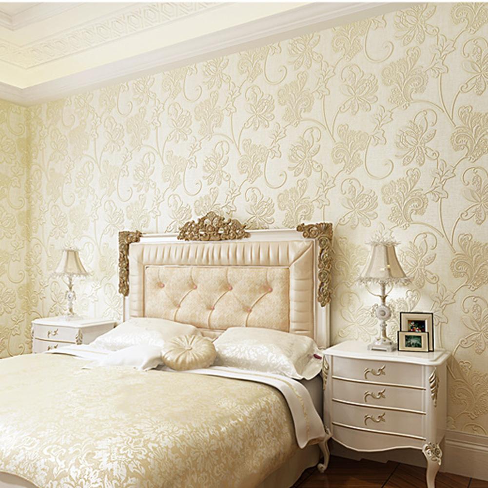 10M 3D Flower Pattern Wallpaper for Bedroom Living Room Decor Beige