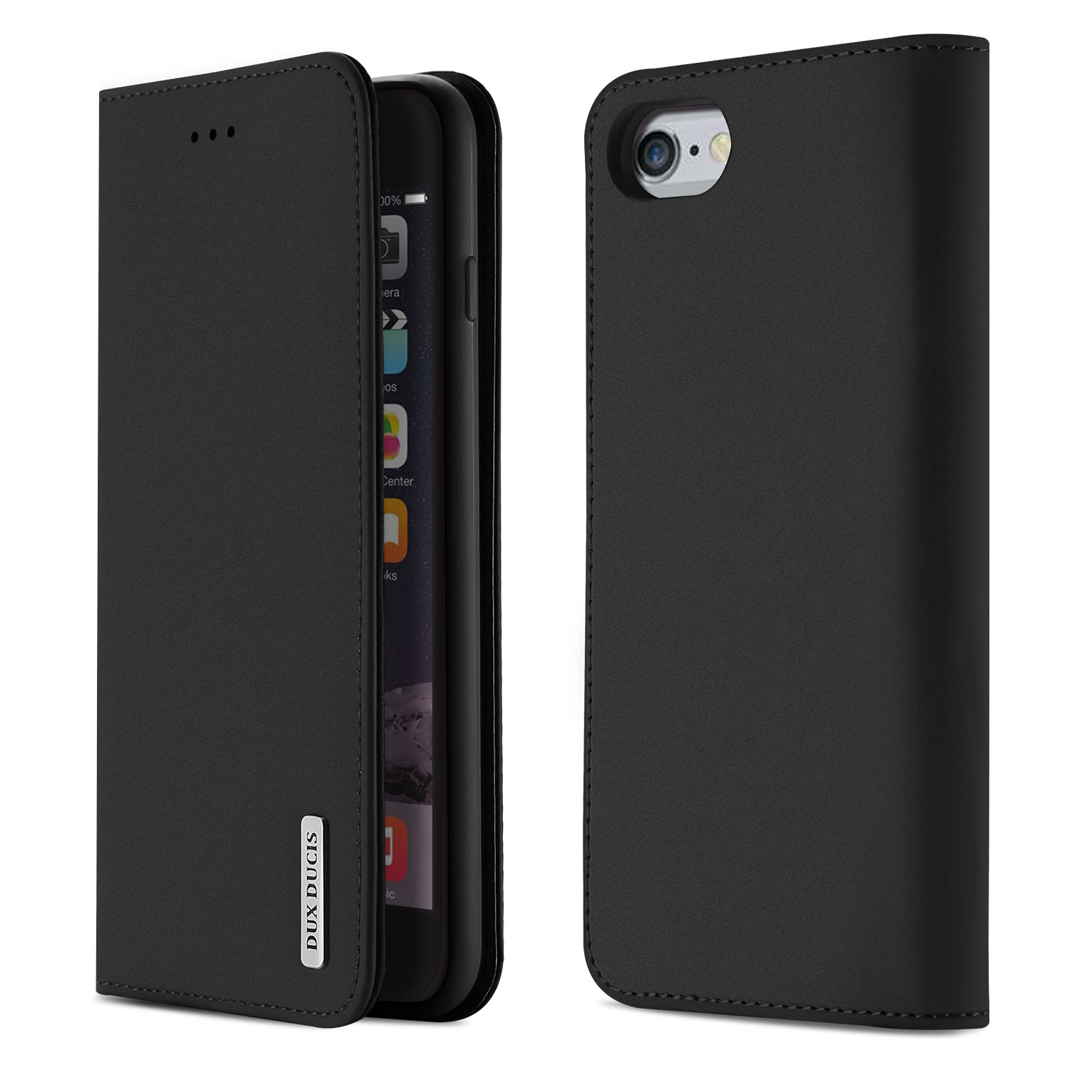 DUX DUCIS For iPhone 6/6s Luxury Genuine Leather Magnetic Flip Cover Full Protective Case with Bracket Card Slot black