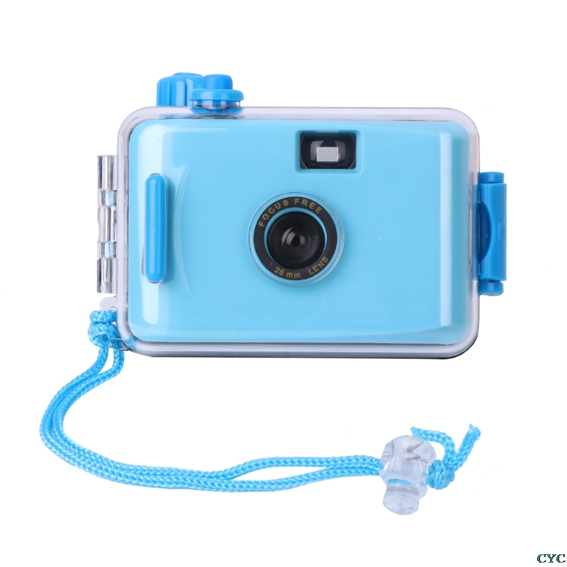 Underwater Waterproof Camera Mini Cute 35mm Film with Housing Case blue