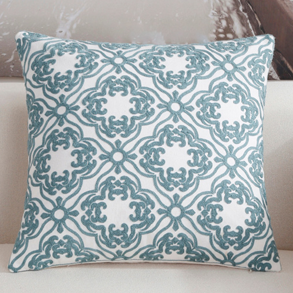 Fashion Simple Blue Throw Pillow Cover for Office Sofa Chair Car Use C embroidery classical flower - blue_45*45cm individual pillowcase