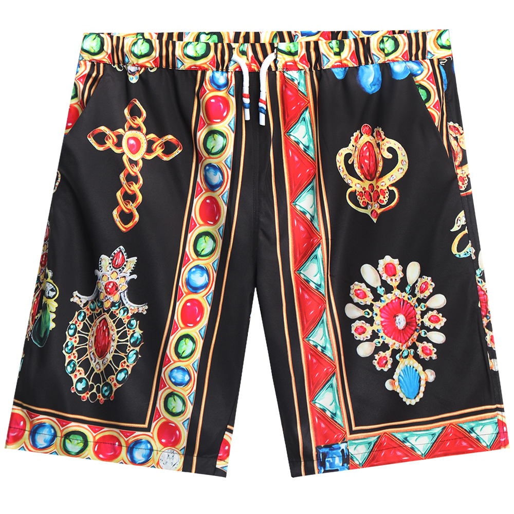 Men  Shorts Summer Digital Printing Shorts Casual Loose Fifth-pants Flower Pants Black_L