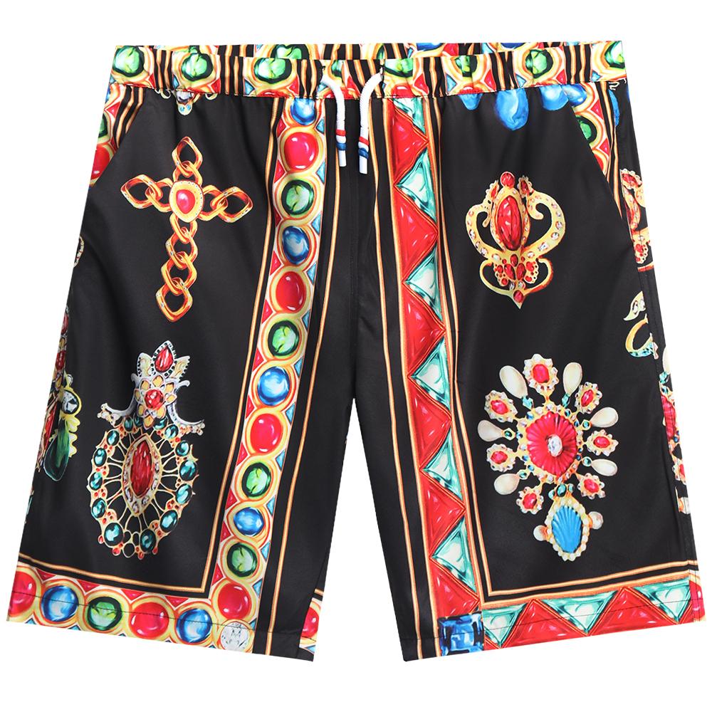 Men  Shorts Summer Digital Printing Shorts Casual Loose Fifth-pants Flower Pants Black_2XL