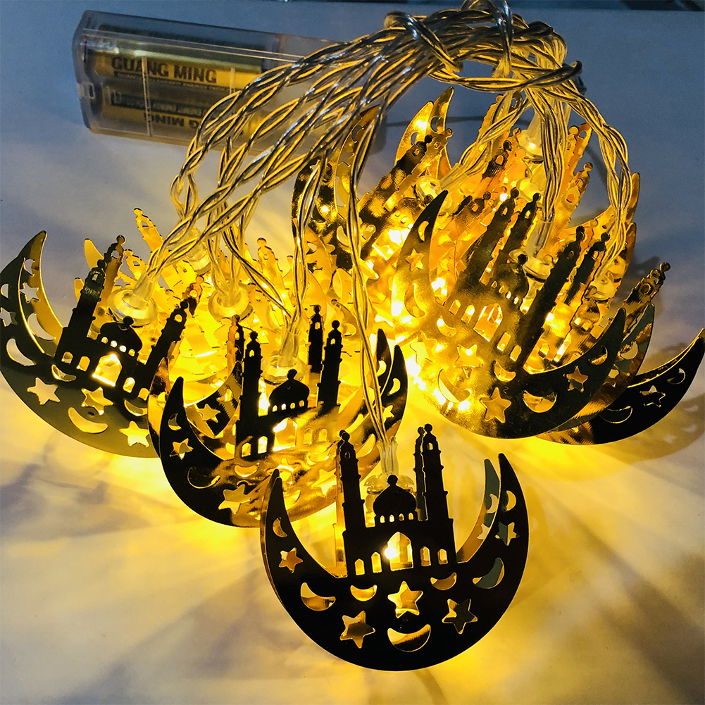 Muslim Ramadan Festival Led Light Strings Golden Wrought Iron Castle Decoration Lamp Holiday Warm White