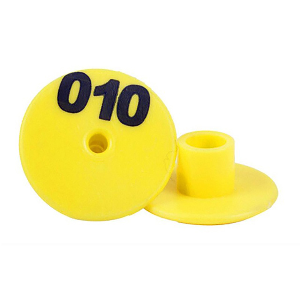 100Pcs Thicken Ear Tag with Number Signage Label Marker Plate for Cow Pig Goat Sheep Yellow 001-100