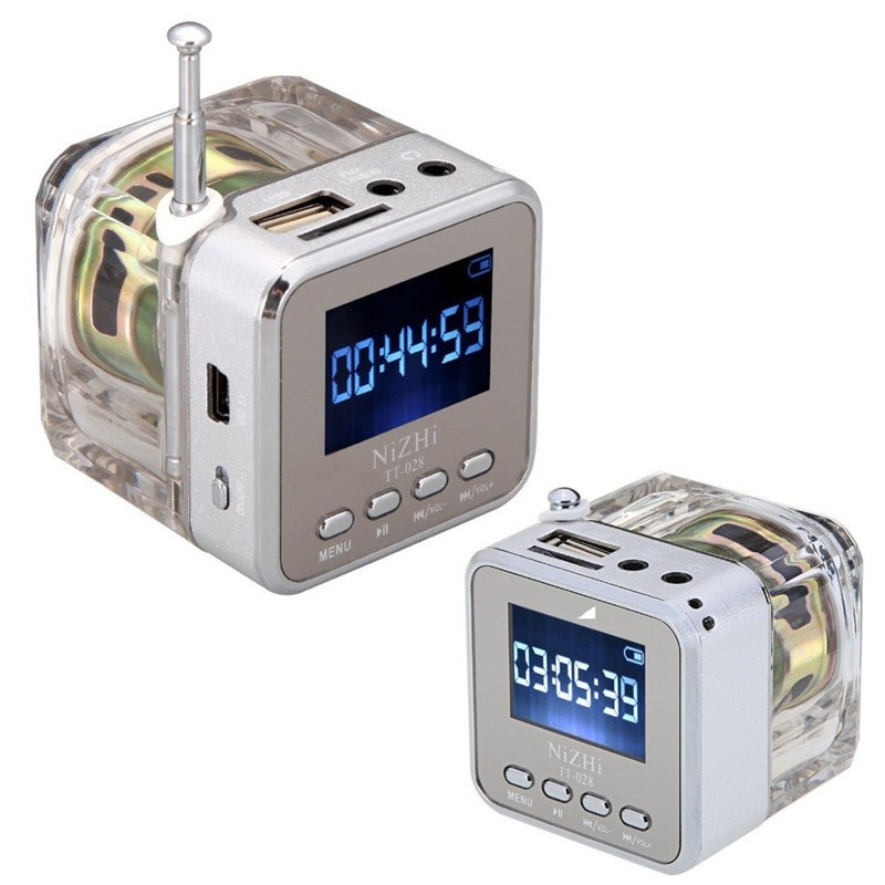Nizhi tt-028  Mini USB MicroSD Card FM Radio LCD Display Speaker Music MP3 Player Silver