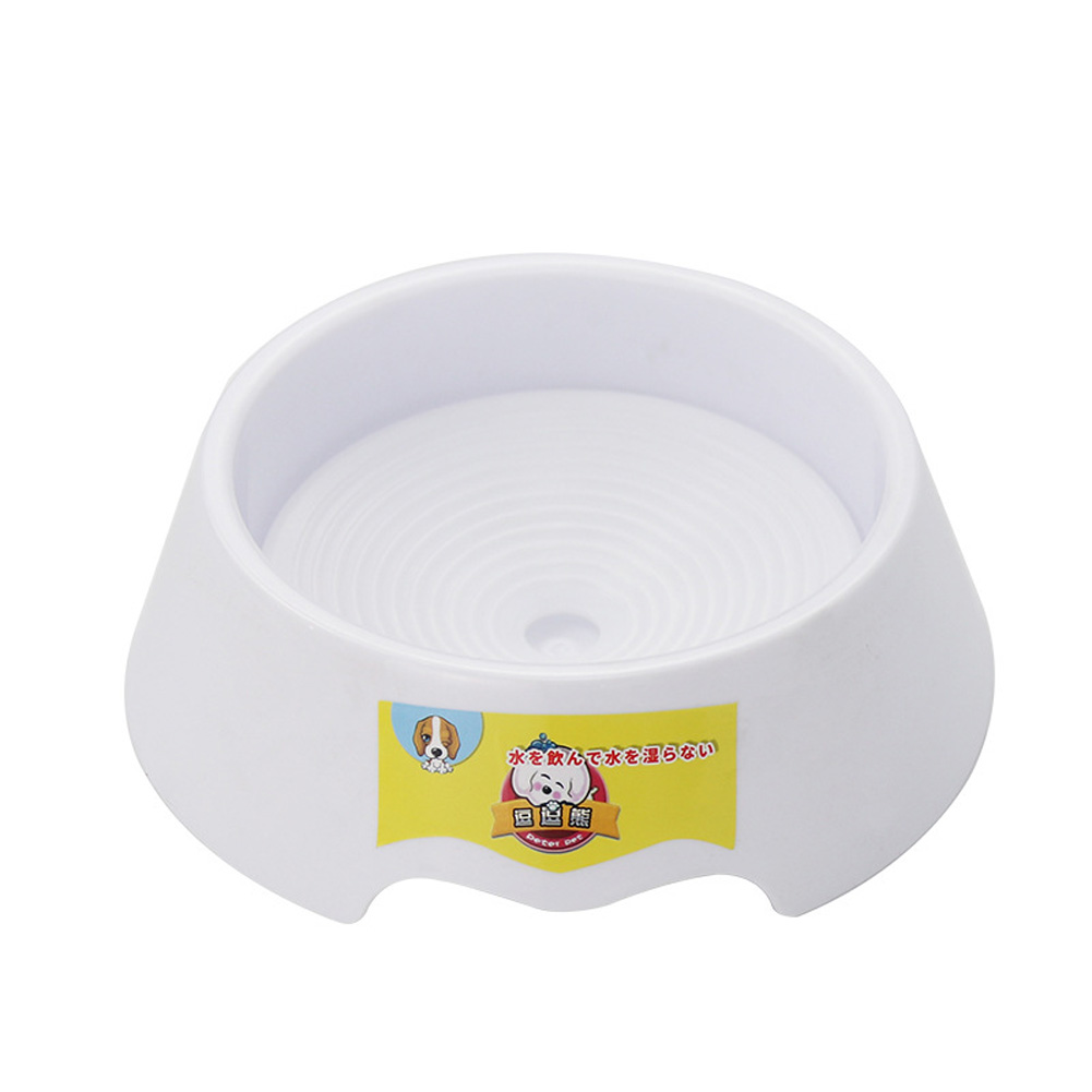 Pet Water Bowl Not Wet Mouth Flotage Drinking Bowl for Dog Cat white