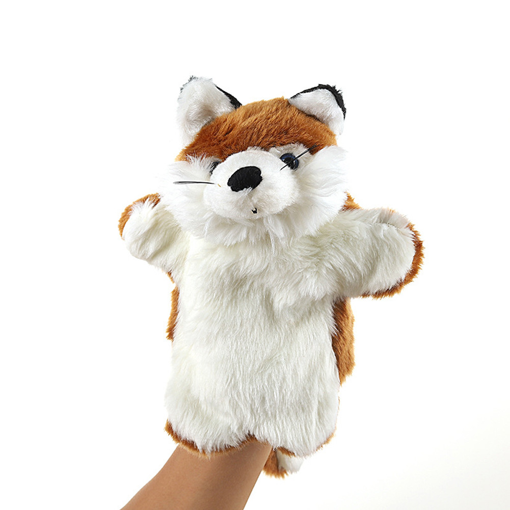 Plush Doll Interactive Animal Plush Hand Puppets for Storytelling Teaching Parent-child Brown fox