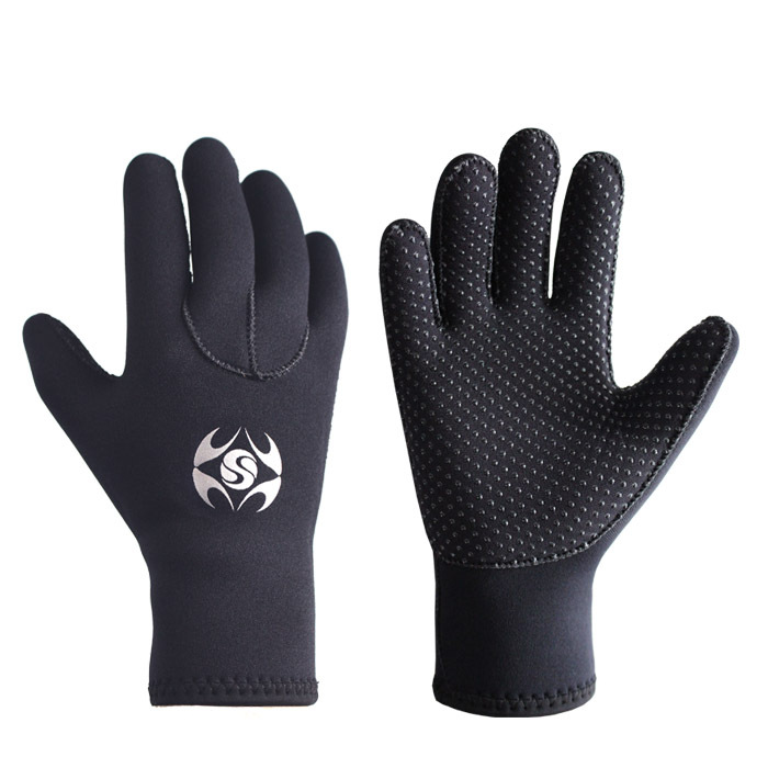 SLINX 3mm Diving Swimming Gloves Anti-slip Wear Resistant Keeping Warm Hand Protector Gloves black_XL