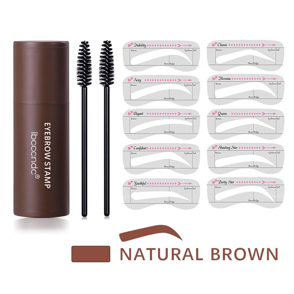 One  Step  Eyebrow  Stamp  Shaping  Kit Eye Brow Powder Stamp Makeup Long Lasting Eyebrow Enhancer Stamper 2#natural brown