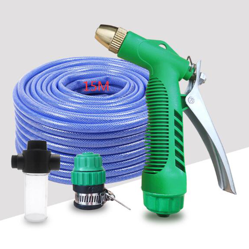 Car Wash Water Sprayer Set High Pressure Car Wash Kit For Vehicle Cleaning Clean Pipe Washer Home Garden 15m tube + Water Sprayer  + universal joint + foam pot