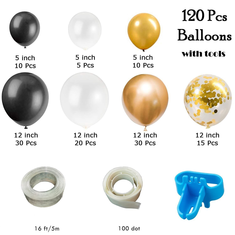 Latex Balloon  Garland Set Birthday Party Room Decorative Ornaments 120PCS black gold suit
