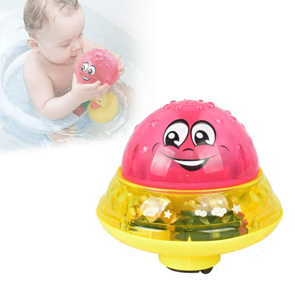 Infant Children Electric Induction Sprinkler Toy Light Music Baby Bath Toy red