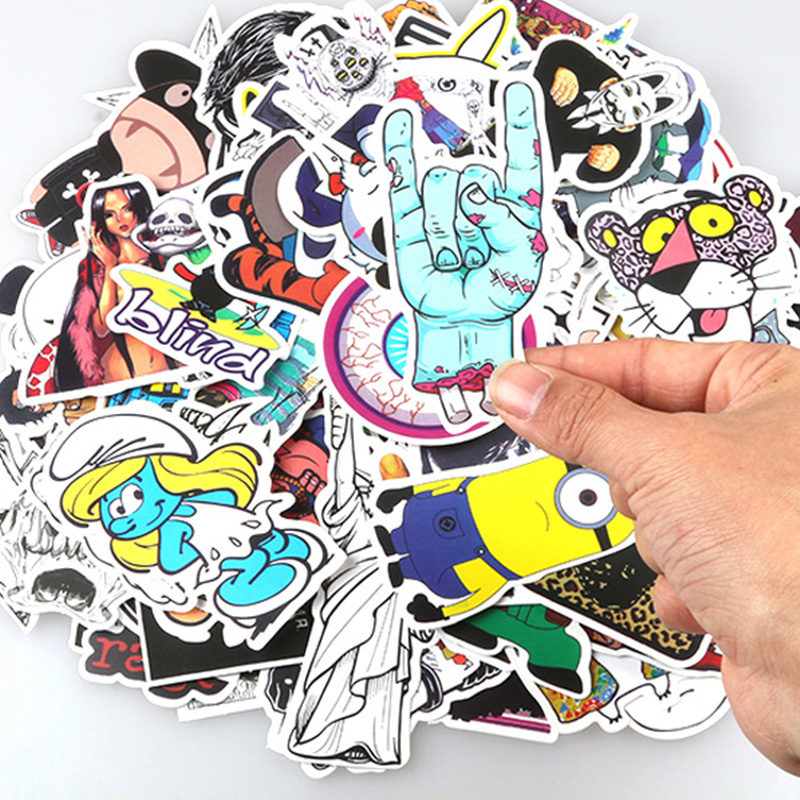 100pcs Non Repeating PVC Cartoon Colorful Printing Stickers Decals for Car Skate Skateboard Laptop Luggage - Random Delivery Random delivery