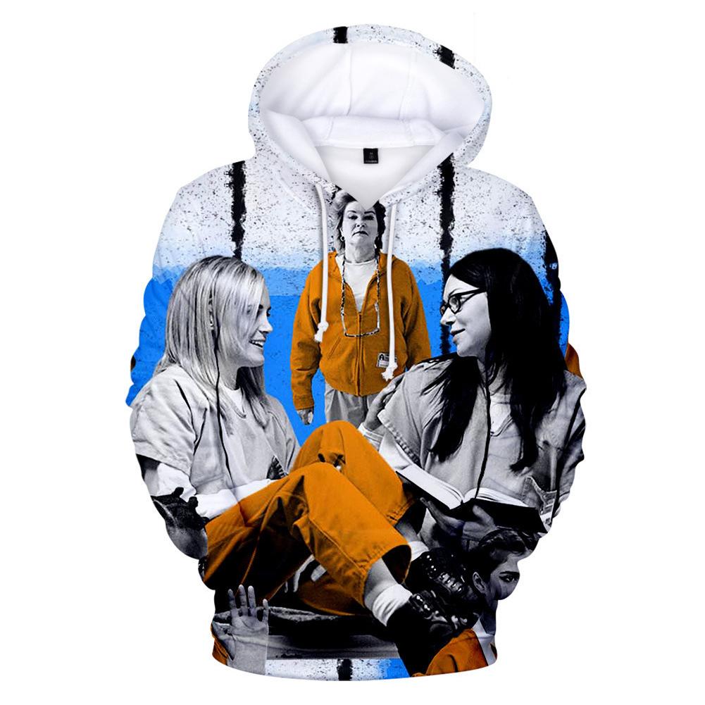 Couple Women Men American Drama Orange Is the New Black 3D Printing Hoodie Tops 2#_L
