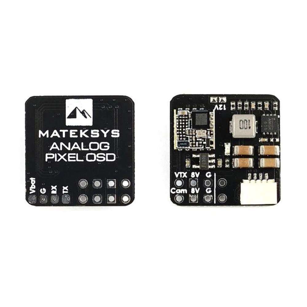 MATEK Analog Pixel OSD Module 9-30V Support 8V Boost to 12V Voltage Power Regulater for FPV VTX Camera Flight Controller as shown