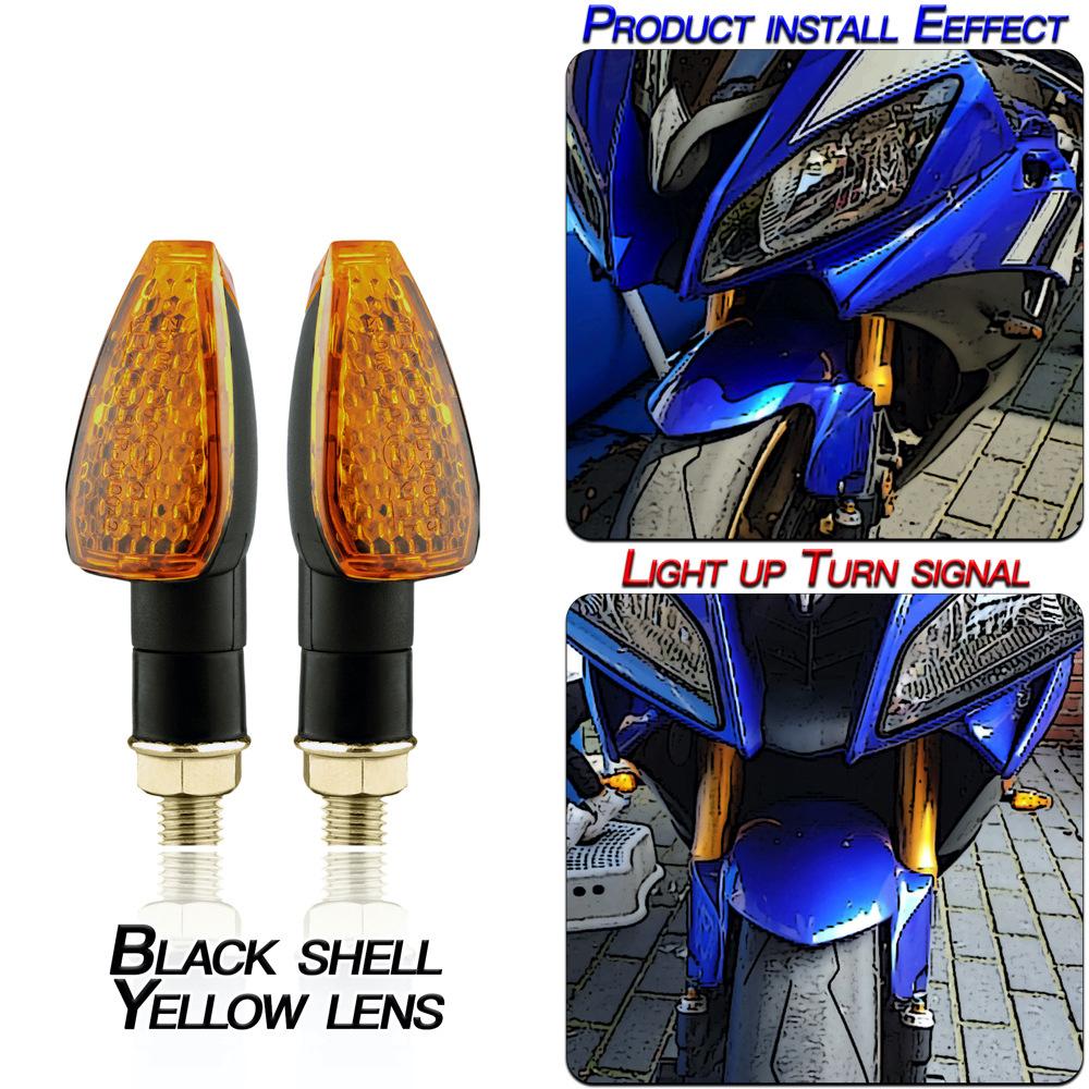 1 Pair Motorcycle Light E-mark Certified Long Short 14led Turn Signal Light Black shell/yellow lens