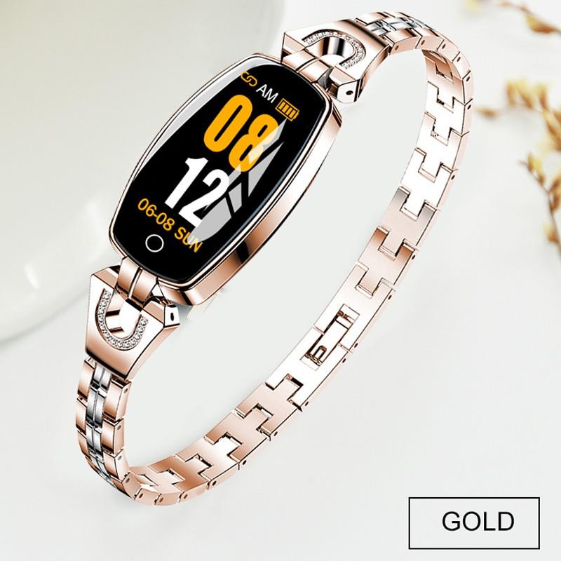 Bluetooth Smart Bracelet Step Counter Calorie Remote Information Reminder Continuous Heart Rate Monitoring Bracelet Golden