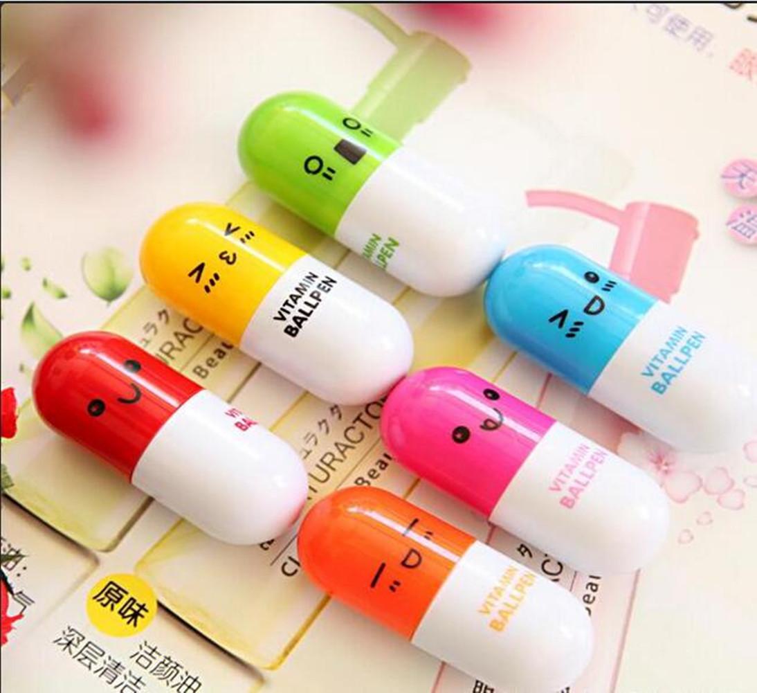 [EU Direct] Tsptool Pill Ball Point Pens Novelty Stationery Telescopic Ballpen for School Writing Supplies Stationery 6pcs