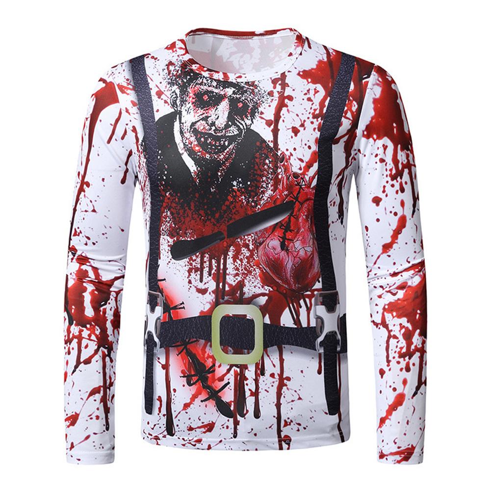 Men Long-sleeved Shirt Round Neck 3D Digital Printing Halloween Series Horror Theme Long Sleeved Shirt Red_2XL