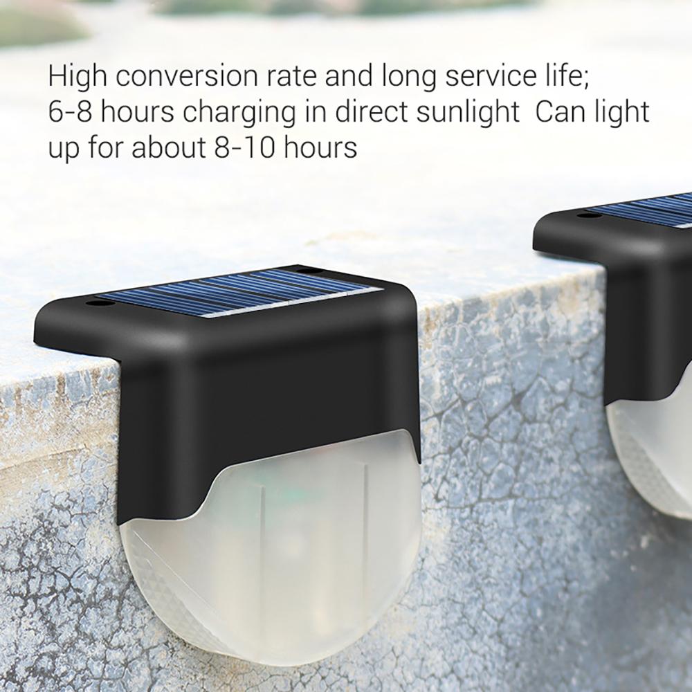 4Pcs Solar Lamp LED Waterproof Outdoor Light for Waterproof Landscape Step Stair Deck Yard Balcony Fence Black warm light