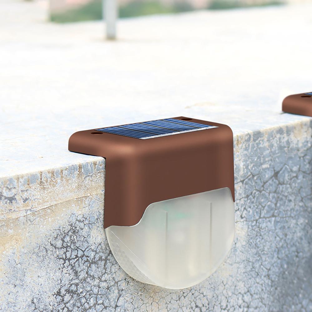 4Pcs Solar Lamp LED Waterproof Outdoor Light for Waterproof Landscape Step Stair Deck Yard Balcony Fence Brown warm light
