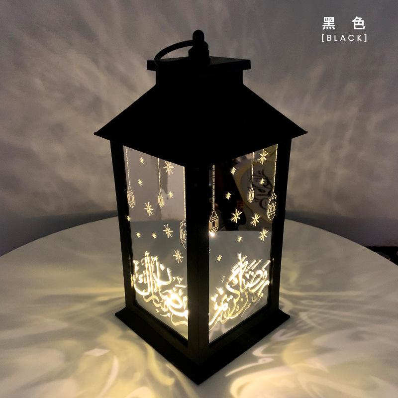 Muslim Ramadan Wind Lamp Lantern Eid Festival LED Light Retro Holiday Decoration black