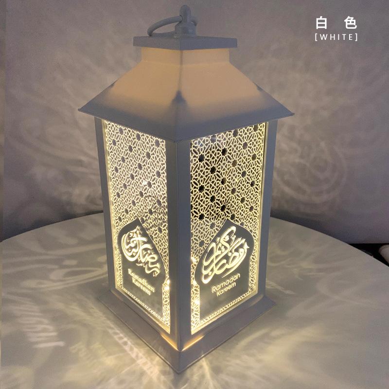 Muslim Ramadan Wind Lamp Lantern Eid Festival LED Light Retro Holiday Decoration white