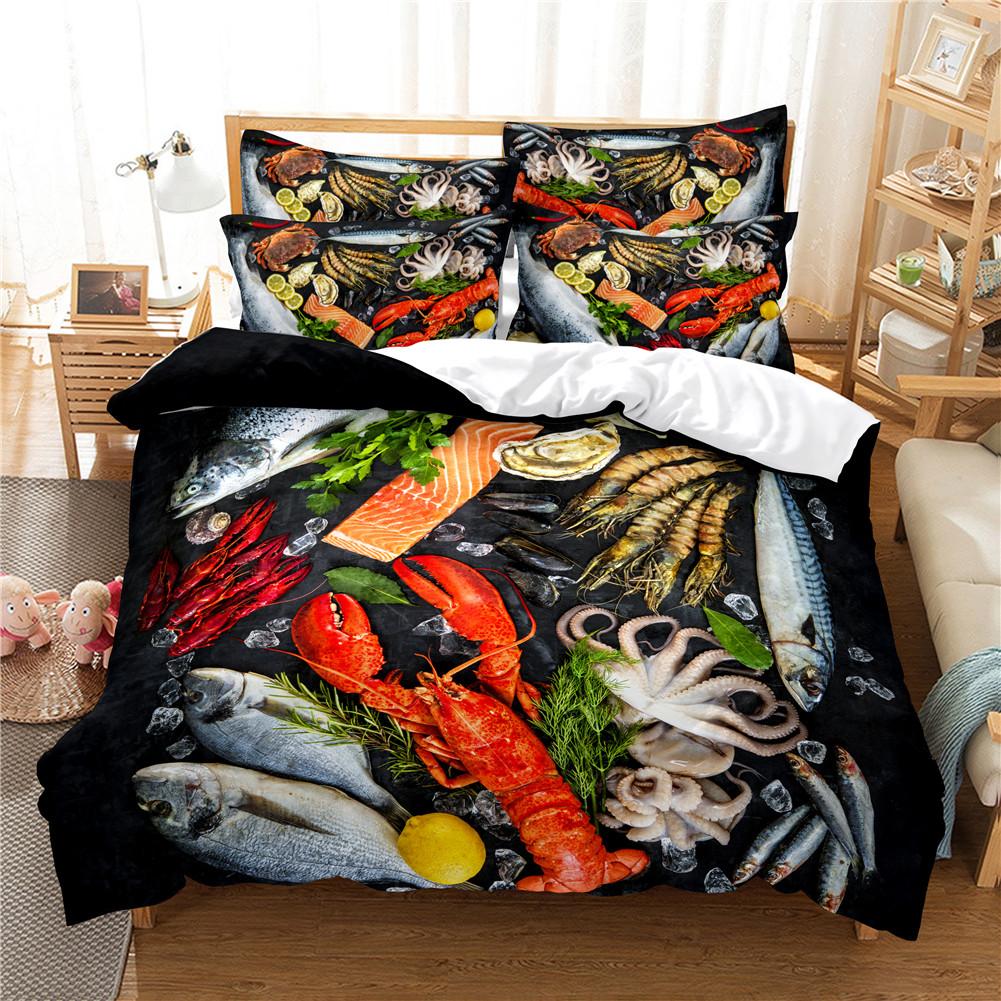2Pcs/3Pcs Full/Queen/King Quilt Cover +Pillowcase 3D Digital Printing BBQ Fruit Series Beeding Set Quee