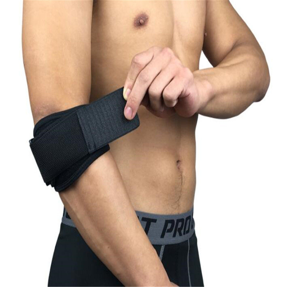 Unisex Elbow Protector Armguard Joint Pressure Winding Adjustable Elbow Pad for Cycling Fishing etc Black-free size
