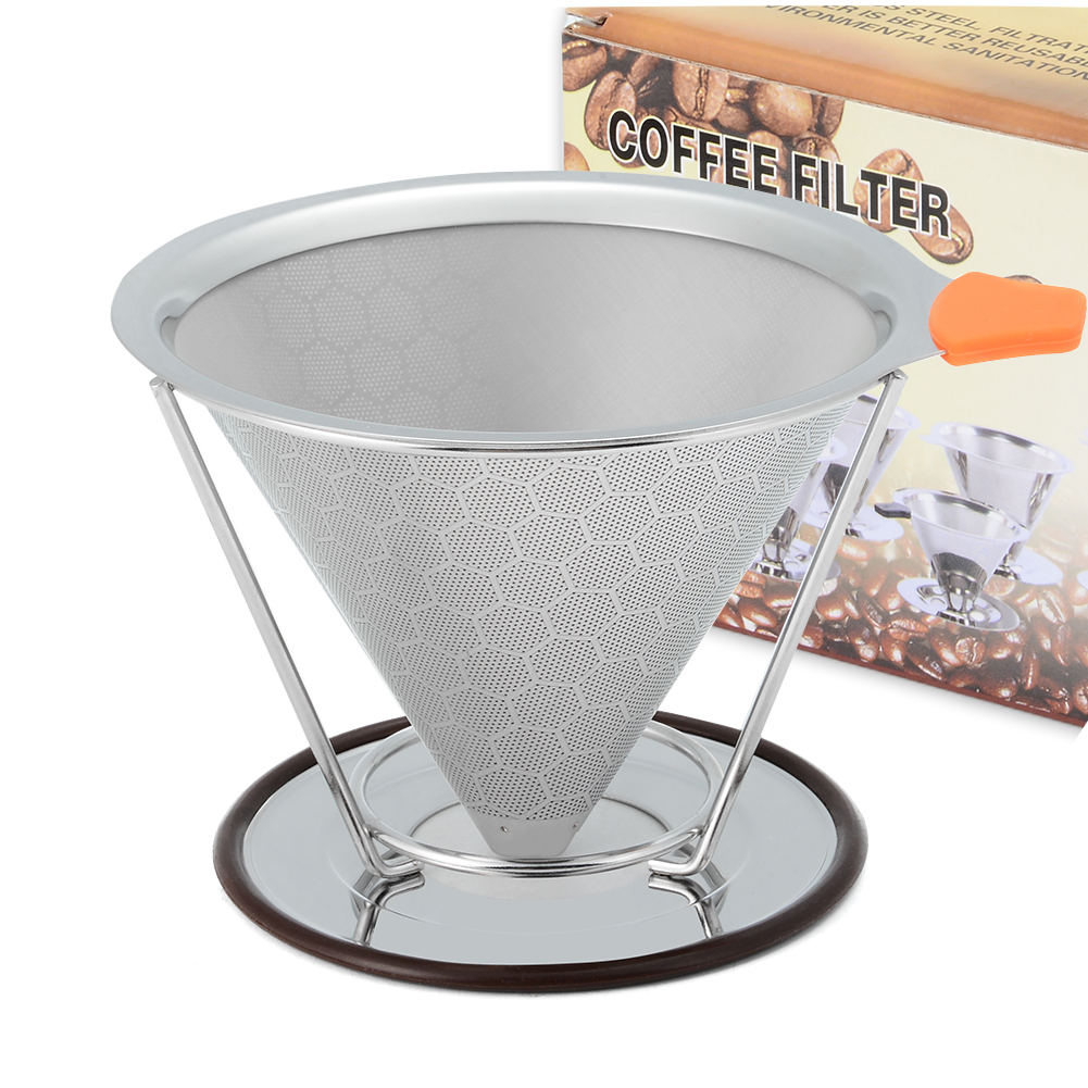 [US Direct] Stainless Steel Coffee Filter Cone Pour Over Coffee Dripper with Separate Cup Stand Spoon Cleaning Brush