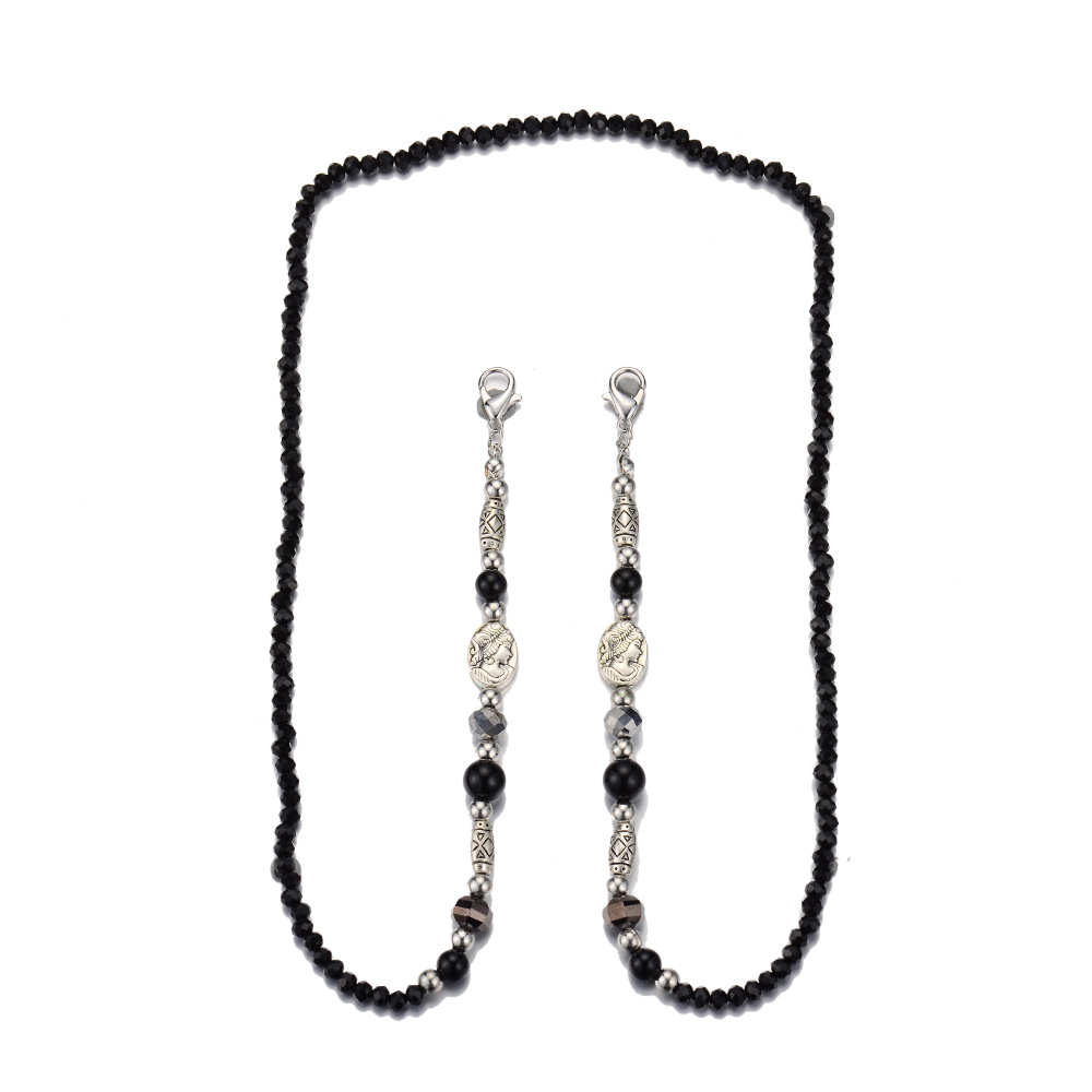 Mask Chain Retro Style Anti-lost Crystal Beaded Glasses Lanyard black