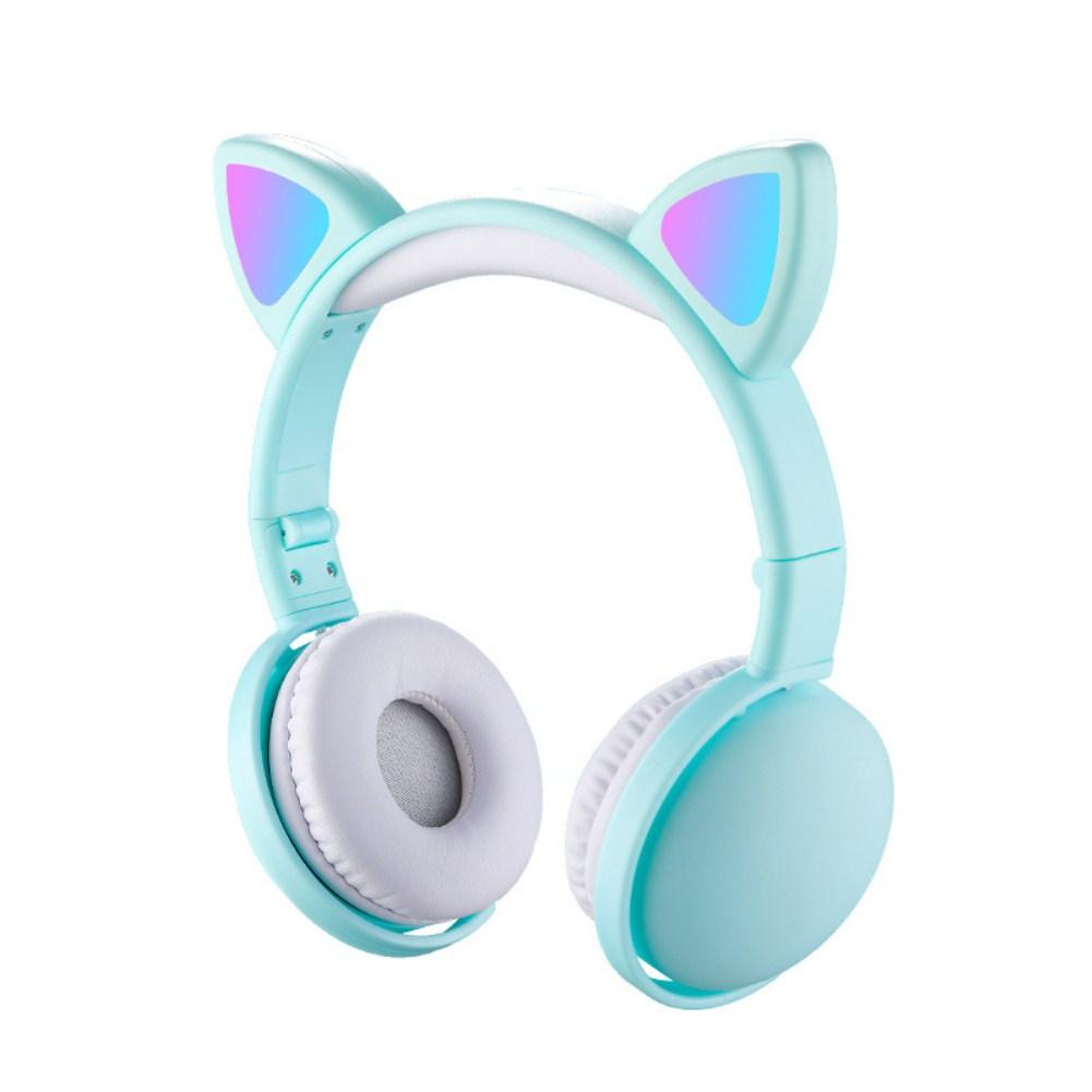 Wholesale Headset Foldable Cartoon Wireless Cat Ear Headphones Light Bluetooth Headset Green From China