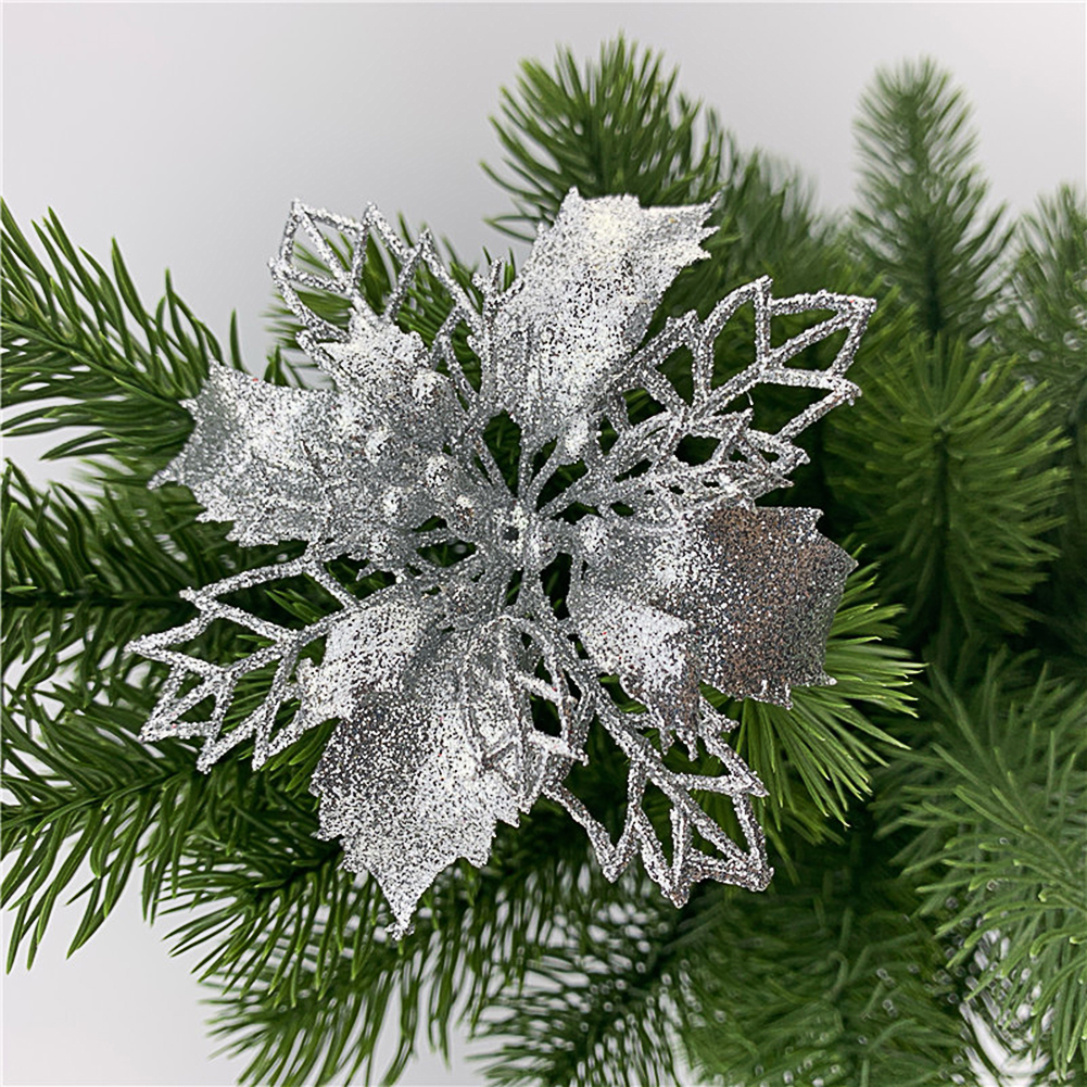 5pcs/set Christmas Decoration Christmas Celebration Hollow Out Glitter Powder Flower Wreath Garland Decor Pendant silver