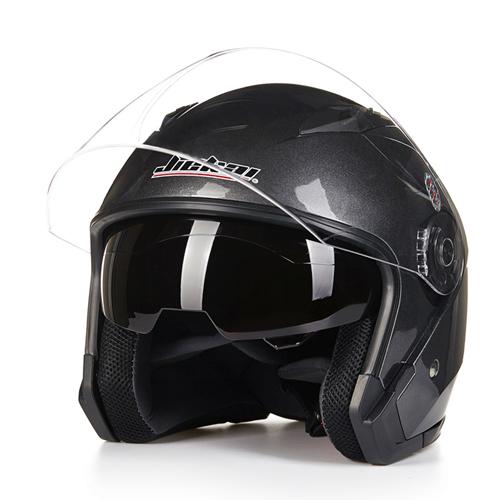 Motorcycle Safe Open Face Capacete Motorcycle Vintage Style Helmets  dark grey_XXL