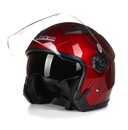 Motorcycle Dual Lens Open Face Capacete Motorcycle Vintage Style Helmets  red_L