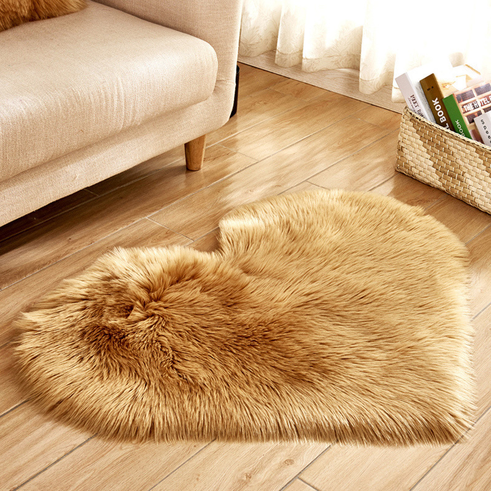 Soft Artificial Plush Rug Chair Cover Warm Hairy Carpet Seat Pad Modern Style Home Decoration  Khaki