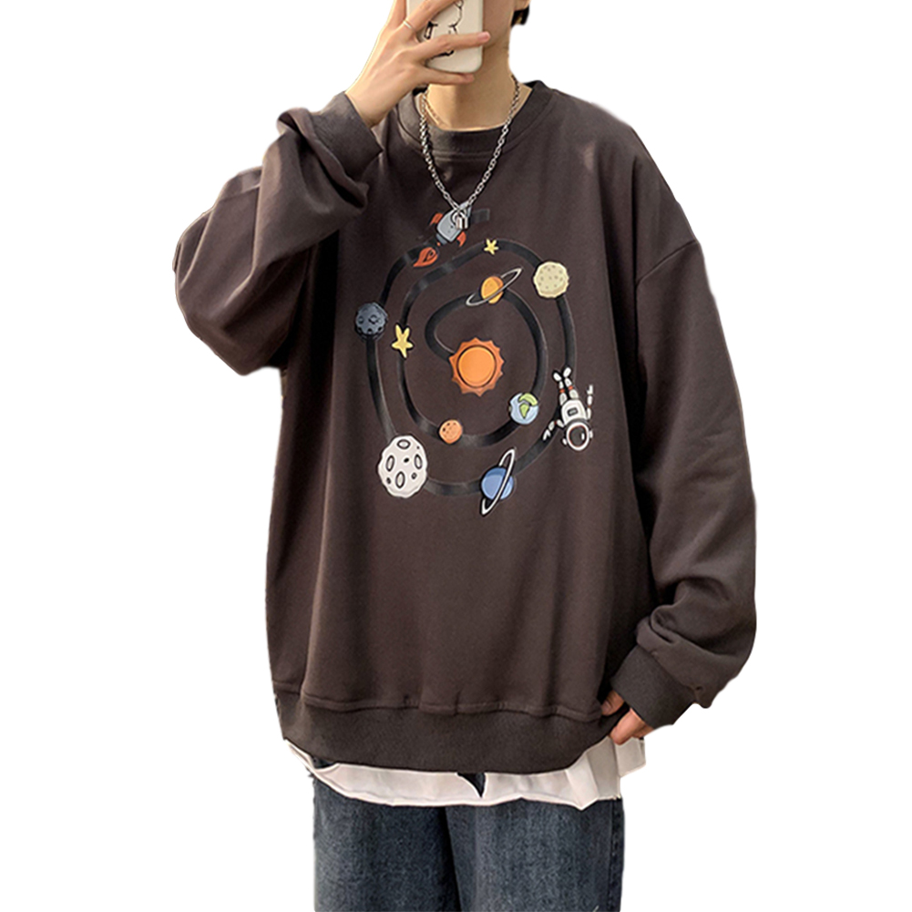 Men Round Collar Loose Handsome Leisure Tops Lovers Printed Long Sleeve Pullovers Dark gray 3217#_XXL