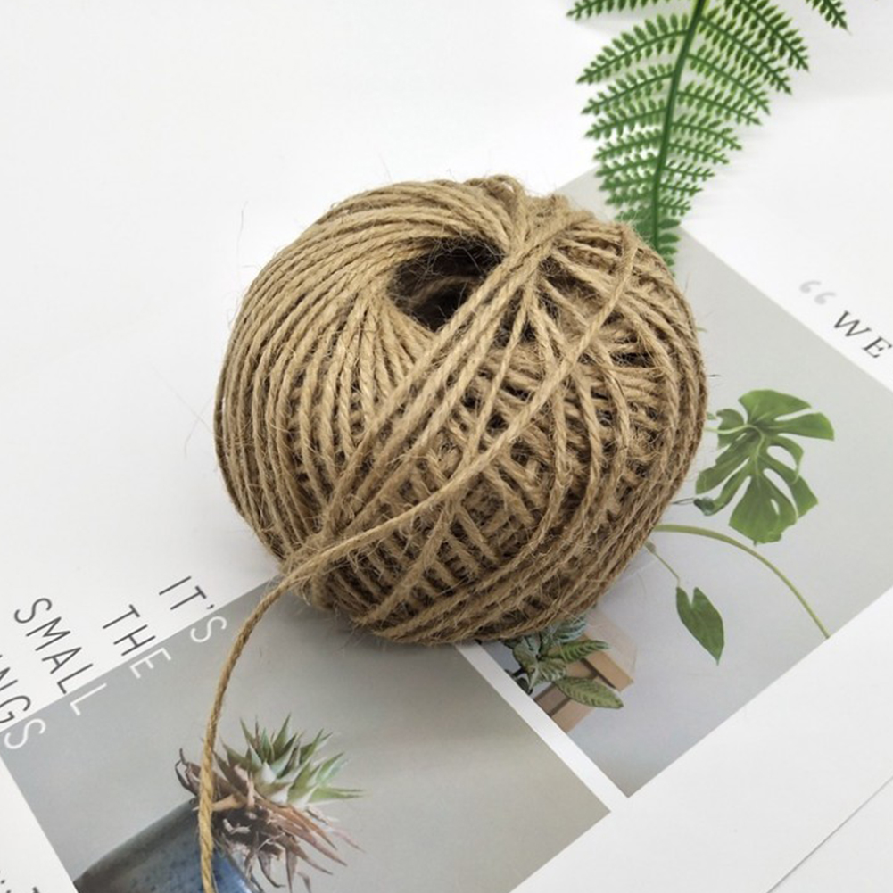 1 Roll Jute Rope for Diy Tag Packaging Photo Wall Bouquet Decoration 85 m 3 shares 2 mm (100 g)