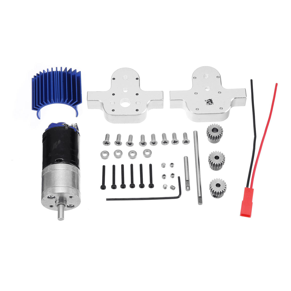 Metal Transfer Gearbox 370 Motor For WPL B-24 B16 B36 C24 1/16 4WD 6WD RC Car Case Silver metal transfer case with 370 motor