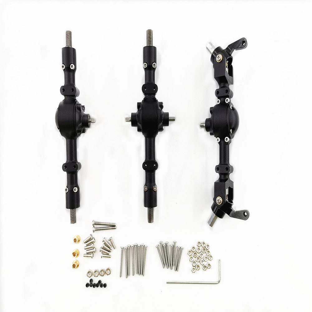 Front Middle Rear Bridge Axle Assembly for WPL 6WD 4WD Military Car Upgrade Full Metal CNC Separate Part General Military RC Car Parts black_6WD